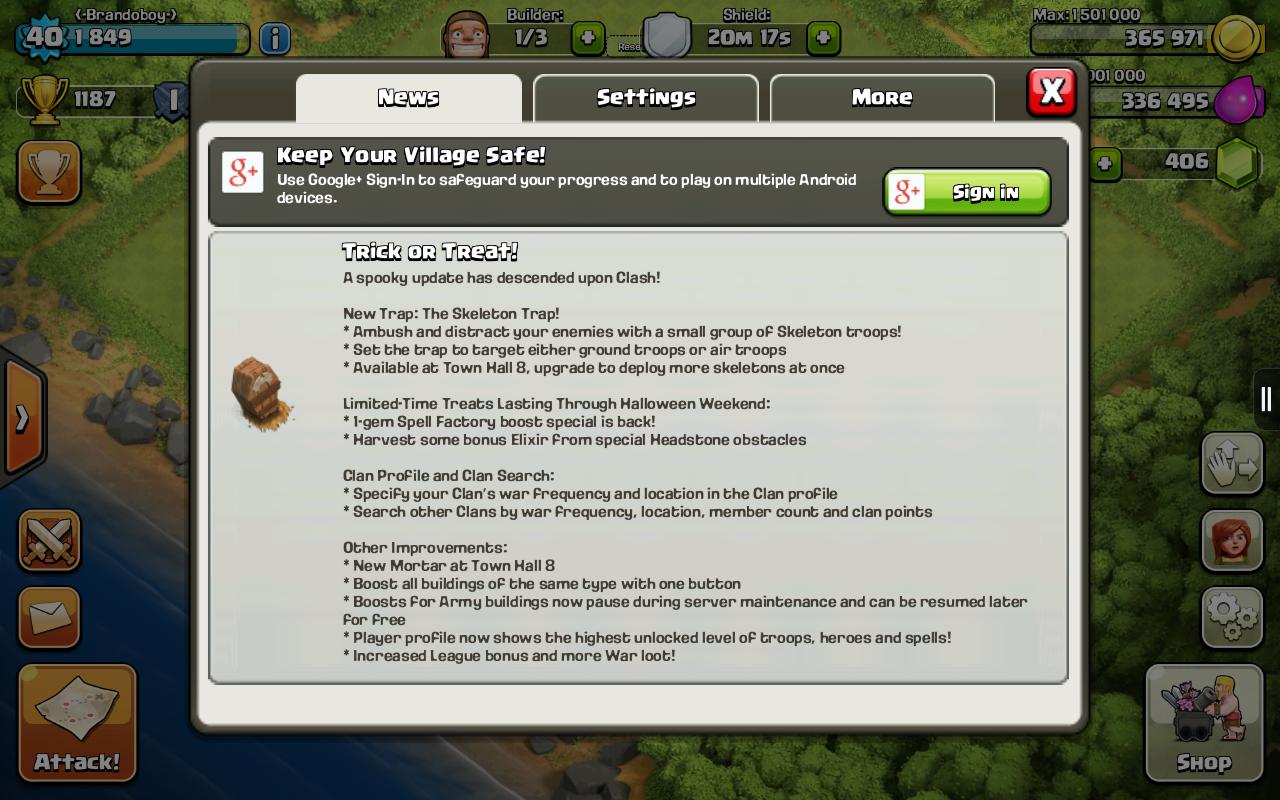 Clash Of Clans 2014 Halloween update (version 6.322)